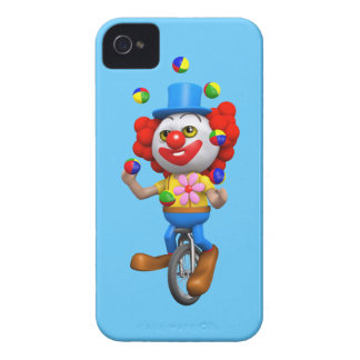3d Funny Clown Juggles on Unicycle iPhone 4 Case-Mate Cases