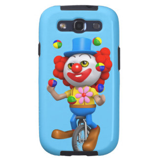 3d Funny Clown Juggles on Unicycle Samsung Galaxy S3 Case