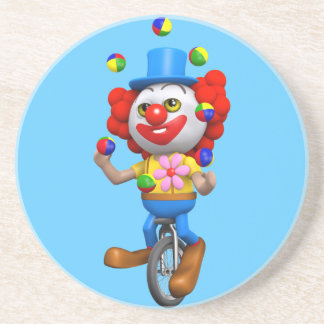 3d Funny Clown Juggles on Unicycle Beverage Coaster