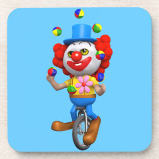 3d Funny Clown Juggles on Unicycle Beverage Coasters