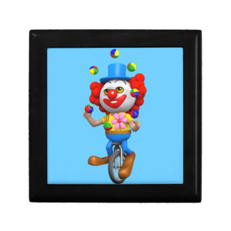 3d Funny Clown Juggles on Unicycle Trinket Box