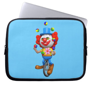 3d Funny Clown Juggles on Unicycle Laptop Computer Sleeves