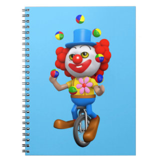 3d Funny Clown Juggles on Unicycle Spiral Notebook