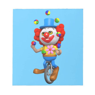 3d Funny Clown Juggles on Unicycle Note Pads