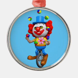 3d Funny Clown Juggles on Unicycle Christmas Tree Ornaments