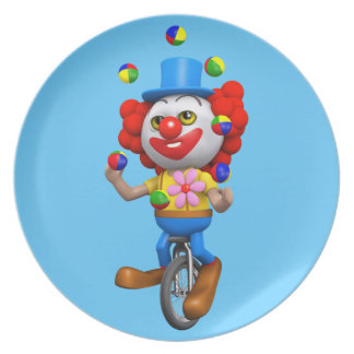 3d Funny Clown Juggles on Unicycle Dinner Plates