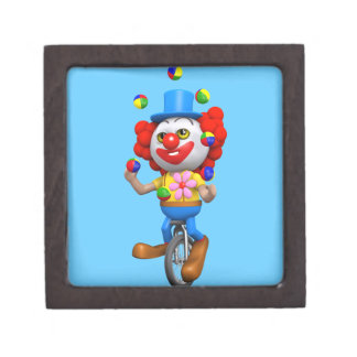 3d Funny Clown Juggles on Unicycle Premium Keepsake Boxes