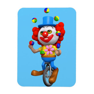 3d Funny Clown Juggles on Unicycle Magnets