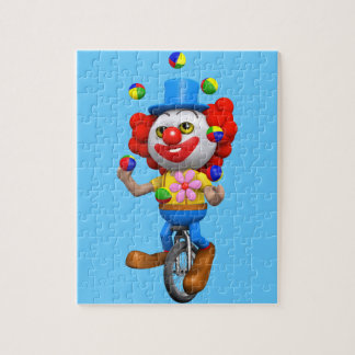 3d Funny Clown Juggles on Unicycle Puzzles