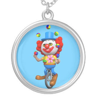 3d Funny Clown Juggles on Unicycle Round Pendant Necklace