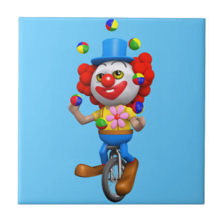 3d Funny Clown Juggles on Unicycle Tiles