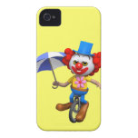3d Funny Clown on Unicycle with Umbrella iPhone 4 Covers