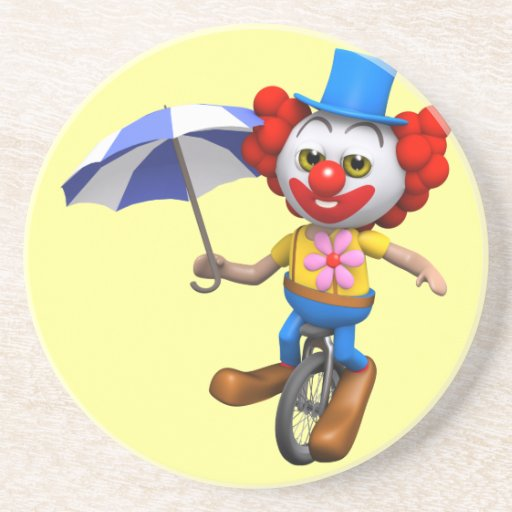 3d Funny Clown on Unicycle with Umbrella Coaster