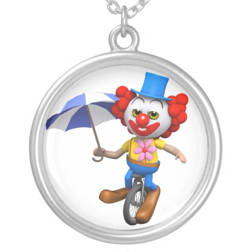 3d Funny Clown on Unicycle with Umbrella Necklaces