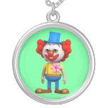3d Funny Clown Round Pendant Necklace