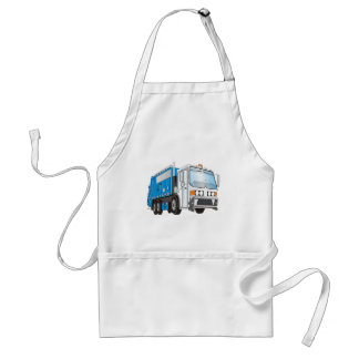 3d Garbage Truck Blue and White  Cab Adult Apron