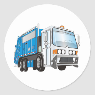 3d Garbage Truck Blue and White  Cab Classic Round Sticker