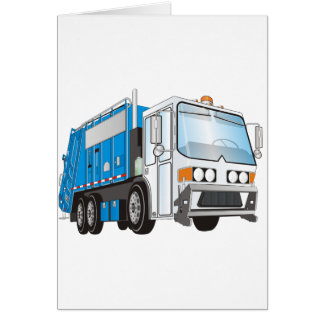 3d Garbage Truck Blue and White  Cab Greeting Card