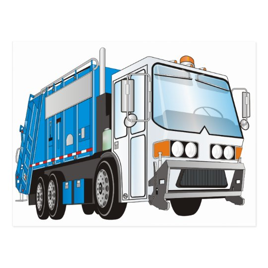 3d Garbage Truck Blue and White  Cab Postcard