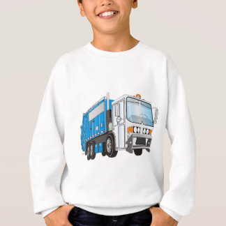 3d Garbage Truck Blue and White  Cab Sweatshirt