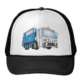3d Garbage Truck Blue and White  Cab Trucker Hat
