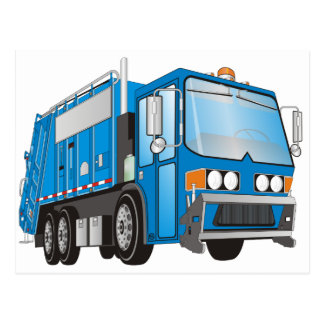 3d Garbage Truck Blue Postcards