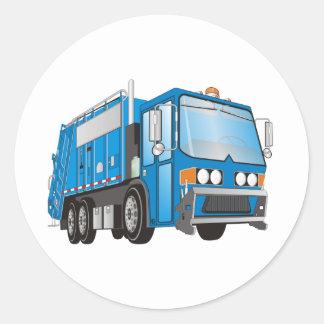 3d Garbage Truck Blue Round Stickers