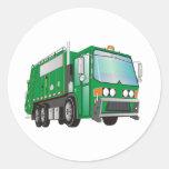 3d Garbage Truck Green Classic Round Sticker