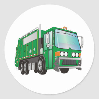 3d Garbage Truck Green Classic Round Sticker