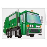 3d Garbage Truck Green Greeting Card