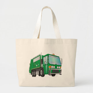 3d Garbage Truck Green Large Tote Bag