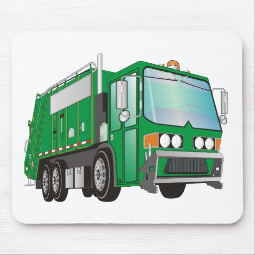3d Garbage Truck Green Mouse Pad