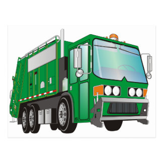 3d Garbage Truck Green Postcard