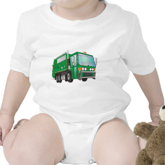 3d Garbage Truck Green T Shirts