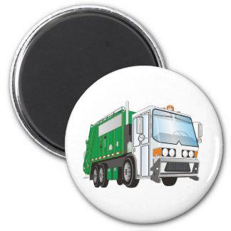 3d Garbage Truck Green White Cab 2 Inch Round Magnet
