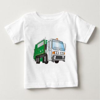 3d Garbage Truck Green White Cab Baby T-Shirt