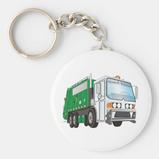 3d Garbage Truck Green White Cab Key Chain