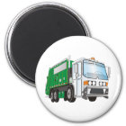 3d Garbage Truck Green White Cab Magnet