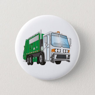 3d Garbage Truck Green White Cab Pinback Button