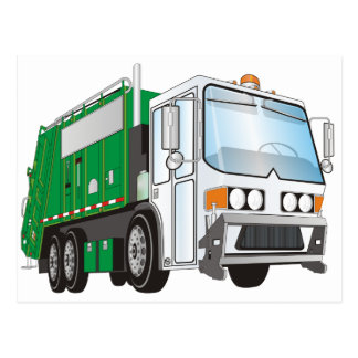 3d Garbage Truck Green White Cab Post Cards