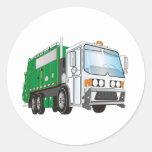 3d Garbage Truck Green White Cab Round Stickers