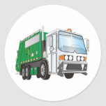 3d Garbage Truck Green White Cab Classic Round Sticker