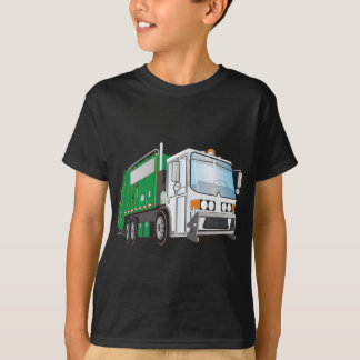 3d Garbage Truck Green White Cab T-Shirt