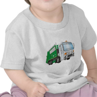 3d Garbage Truck Green White Cab T-shirts