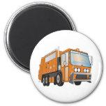 3d Garbage Truck Orange 2 Inch Round Magnet