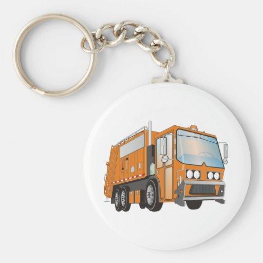 3d Garbage Truck Orange Basic Round Button Keychain