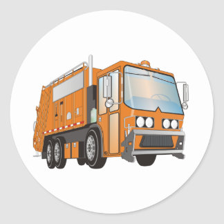 3d Garbage Truck Orange Classic Round Sticker