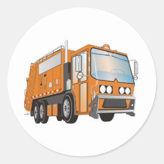 3d Garbage Truck Orange Classic Round Sticker