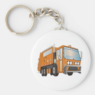 3d Garbage Truck Orange Keychain