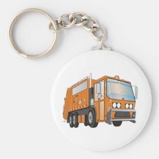 3d Garbage Truck Orange Keychains